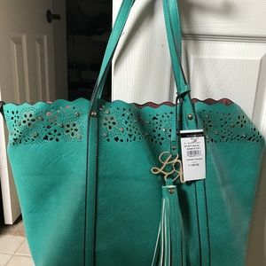 NWT Wilson Leather large teal green tote